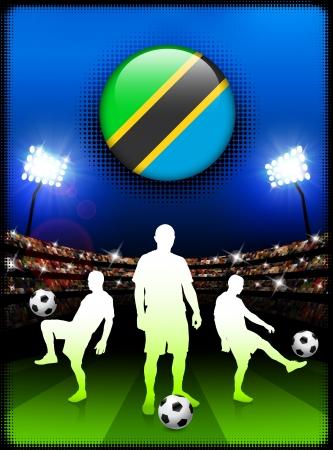 Tanzania Flag Button with Soccer Match in StadiumOriginal Illustration
