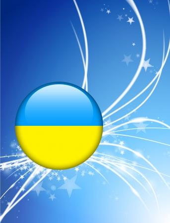 光の抽象的な背景ウクライナ国旗ボタン オリジナル イラスト  イラスト・ベクター素材