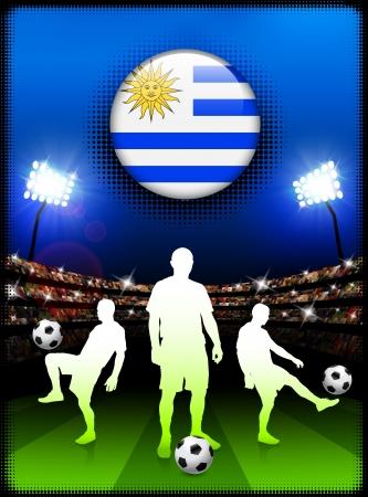 uruguay flag: Uruguay Flag Button with Soccer Match in Stadium Original Illustration