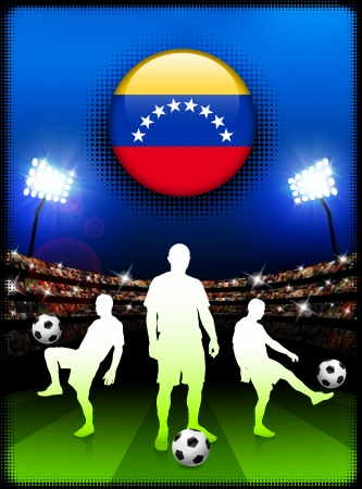 Venezuela Flag Button with Soccer Match in Stadium Original Illustration Vector