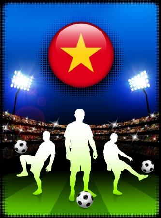 Bouton de drapeau du Vietnam un match de Soccer au stadeIllustration originale Banque d'images - 22429731