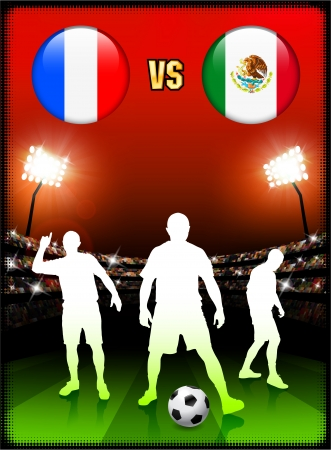 France versus Mexico on Stadium Event Background Original Illustration Vector