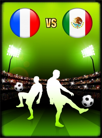versus: France versus Mexico on Stadium Event Background Original Illustration
