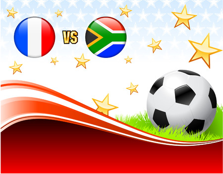 french flag: France versus South Africa on Abstract Red Background with Stars Original Illustration