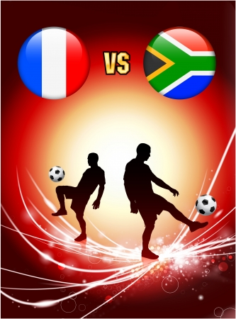 south african flag: France versus South Africa on Abstract Red Light Background Original Illustration