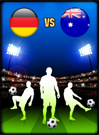 Germany versus Australia on Stadium Event Background Original Illustration Vector