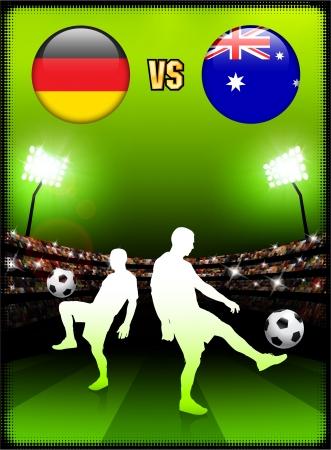Germany versus Australia on Stadium Event BackgroundOriginal Illustration Stock Vector - 22429682
