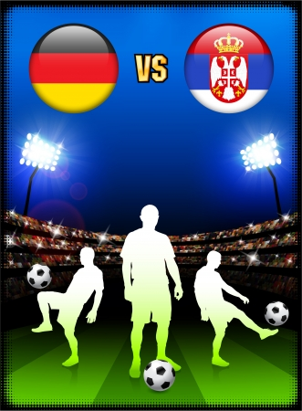 serbia: Germany versus Serbia on Stadium Event Background Original Illustration Illustration