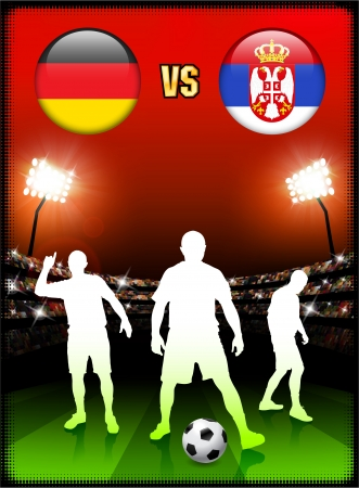Germany versus Serbia on Stadium Event Background Original Illustration Ilustração