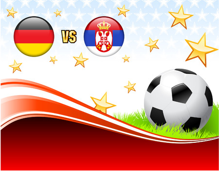 Germany versus Serbia on Abstract Red Background with Stars