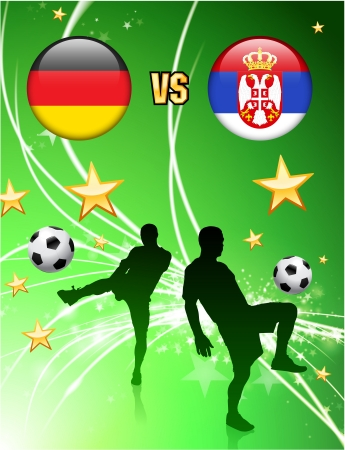 Germany versus Serbia on Abstract Green Stars Background Original Illustration