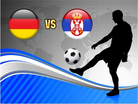 serbia: Germany versus Serbia on Blue Abstract World Map Background Original Illustration