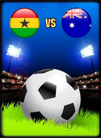 Ghana versus Australia on Soccer Stadium Event BackgroundOriginal Illustration Stock Illustratie