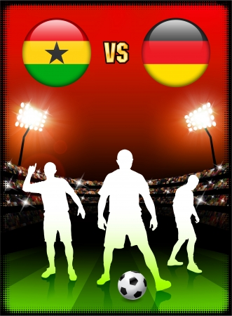 Ghana versus Germany on Stadium Event Background Original Illustration Vector