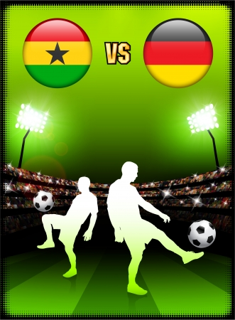 versus: Ghana versus Germany on Stadium Event Background Original Illustration Illustration