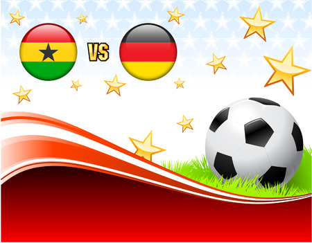 versus: Ghana versus Germany on Abstract Red Background with Stars Original Illustration Illustration