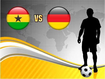 Ghana versus Germany on Abstract World Map Background Original Illustration