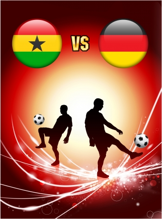 Ghana versus Germany on Abstract Red Light Background Original Illustration Vector