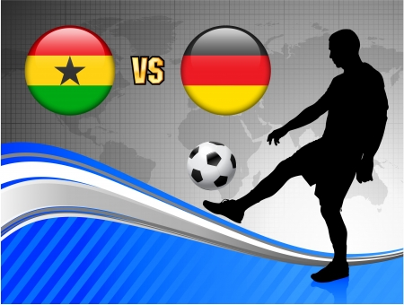 Ghana versus Germany on Blue Abstract World Map Background Original Illustration Ilustração