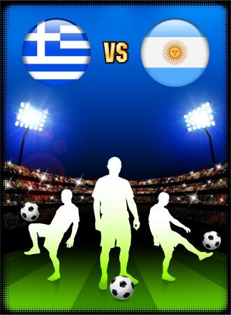 Greece versus Argentina on Stadium Event Background Original Illustration