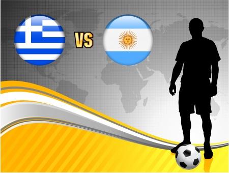 Greece versus Argentina on Abstract World Map Background Original Illustration Ilustração