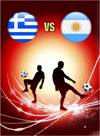 Greece versus Argentina on Abstract Red Light Background Original Illustration Ilustração