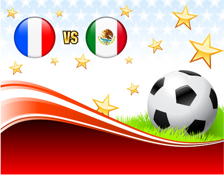 versus: France versus Mexico on Abstract Red Background with Stars Original Illustration Illustration