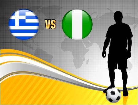 Greece versus Nigeria on Abstract World Map Background Original Illustration