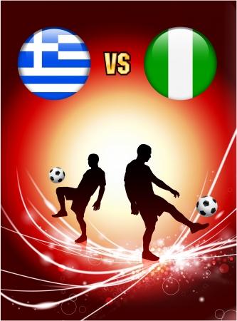 Greece versus Nigeria on Abstract Red Light Background Original Illustration