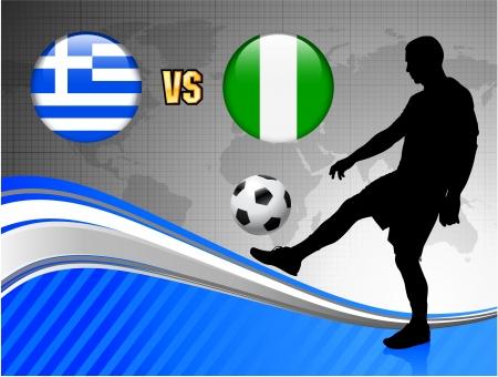 Greece versus Nigeria on Blue Abstract World Map Background Original Illustration Ilustração