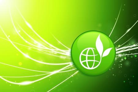 Globe Button on Green Abstract Light Background Original Illustration