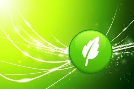 Leaf Button on Green Abstract Light BackgroundOriginal Illustration
