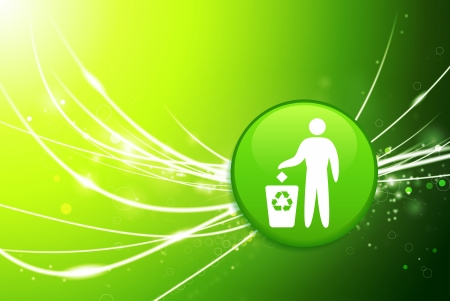 Recycle Button on Green Abstract Light Background Original Illustration Vector