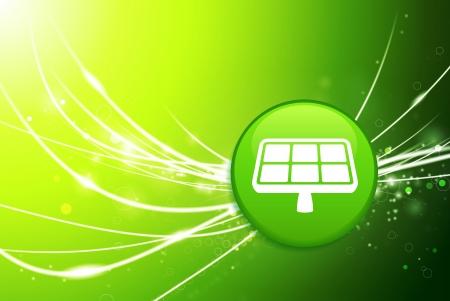 Solar Panel Button on Green Abstract Light BackgroundOriginal Illustration Illusztráció