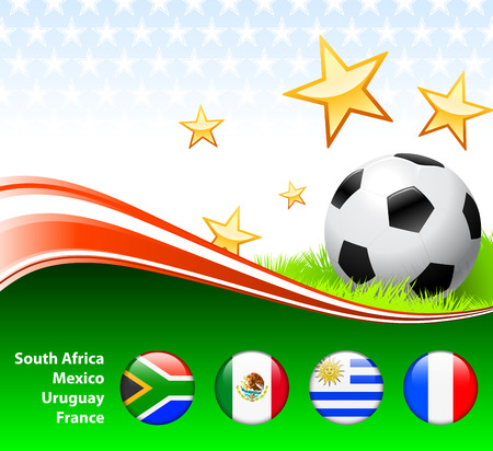World Soccer Event Group A Original Illustration Vector