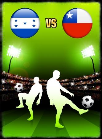 Honduras versus Chile on Stadium Event Background Original Illustration