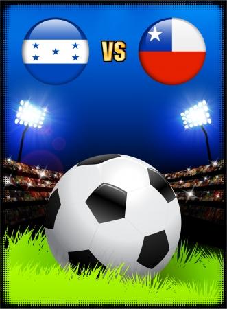 Honduras versus Chile on Soccer Stadium Event BackgroundOriginal Illustration
