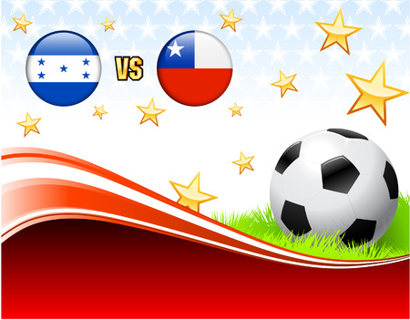 Honduras versus Chile on Abstract Red Background with Stars Original Illustration Vector