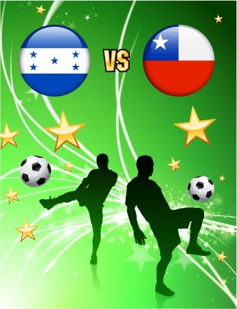 Honduras versus Chile on Abstract Green Stars BackgroundOriginal Illustration