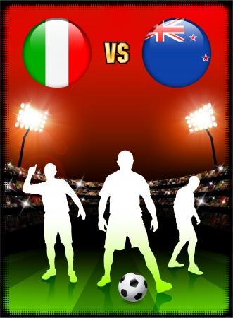 Italy versus New Zealand on Stadium Event Background Original Illustration Vector
