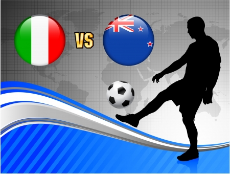 Italy versus New Zealand on Blue Abstract World Map Background Original Illustration Vector
