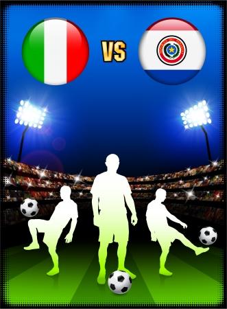 Italy versus Paraguay on Stadium Event Background Original Illustration