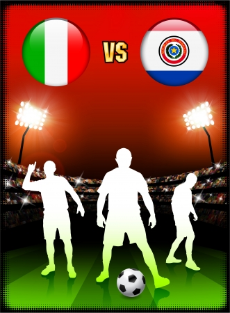 Italy versus Paraguay on Stadium Event Background Original Illustration Vector