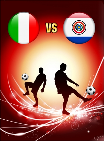 versus: Italy versus Paraguay on Abstract Red Light Background Original Illustration