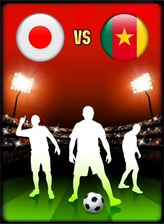 Japan versus Cameroon on Stadium Event Background Original Illustration