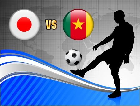 Japan versus Cameroon on Blue Abstract World Map Background Original Illustration Ilustração