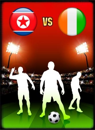North Korea versus Ivory Coast on Stadium Event Background Original Illustration