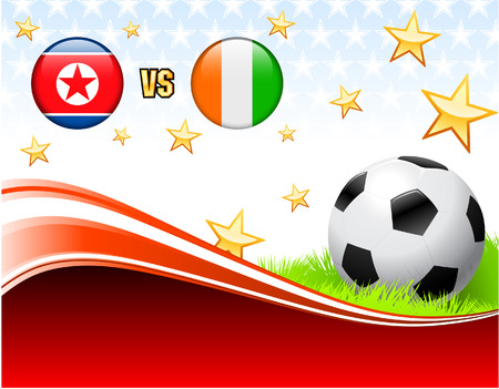 versus: North Korea versus Ivory Coast on Abstract Red Background with Stars Original Illustration Illustration