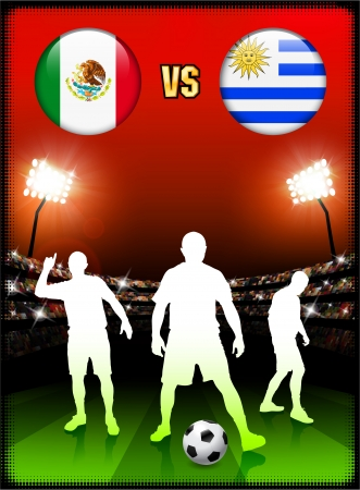 versus: Mexico versus Uruguay on Stadium Event Background Original Illustration