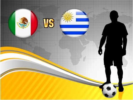 Mexico versus Uruguay on Abstract World Map Background Original Illustration